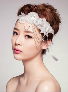 Concise Rhinestone Bride Headwear Ribbon Headband
