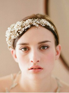 Golden Flowers Crystal Diamond Bride Crown Head Hoop