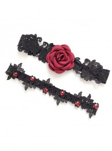 Sexy Red Rose Black Lace Gothic Bride Garters