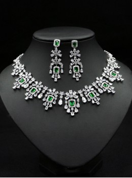 Multiple Color Square Zircon Necklace Earrings Wedding Bride Jewelry Sets