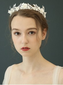 White Ceramic Bride Garland Crown Headdress