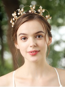Golden Flowers Bride Garland Elegant Crown Headdress