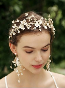 Light Golden Flowers Wedding Bride Garland Crown Earrings Set