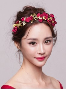 Red Flowers Wedding Bride Crown