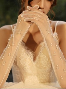 White Pearl Embellished Bridal Long Style Gloves